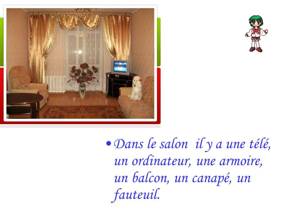 Dans le salon il y a une télé, un ordinateur, une armoire, un balcon, un canapé, un fauteuil.