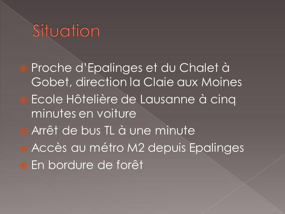 Proche dEpalinges et du Chalet à Gobet, direction la Claie aux Moines Ecole Hôtelière de Lausanne à cinq minutes en voiture Arrêt de bus TL à une minute Accès au métro M2 depuis Epalinges En bordure de forêt