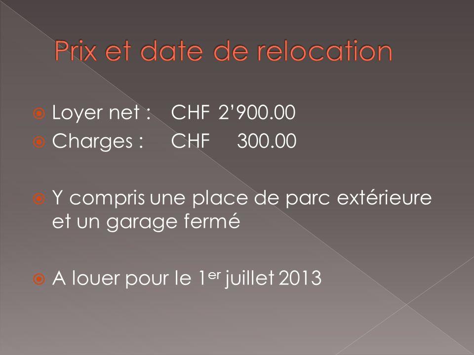 Loyer net :CHF2900.00 Charges :CHF 300.00 Y compris une place de parc extérieure et un garage fermé A louer pour le 1 er juillet 2013
