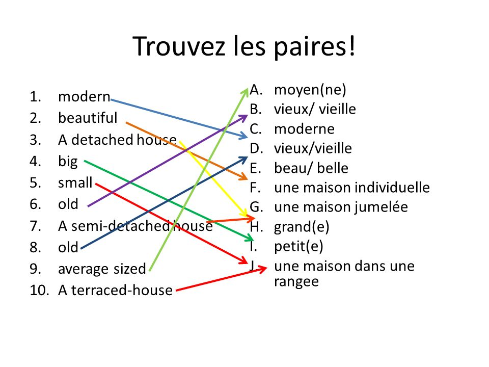 Trouvez les paires! 1.modern 2.beautiful 3.A detached house 4.big 5.small 6.old 7.A semi-detached house 8.old 9.average sized 10.A terraced-house A.mo