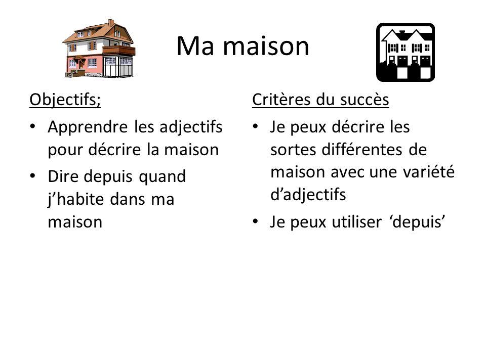 Ma maison Objectifs; Apprendre les adjectifs pour décrire la maison Dire depuis quand jhabite dans ma maison Critères du succès Je peux décrire les so