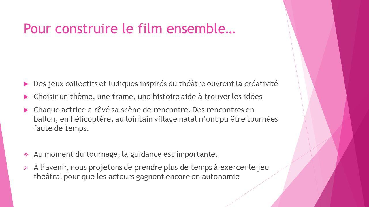 Pour construire le film ensemble… Des jeux collectifs et ludiques inspirés du théâtre ouvrent la créativité Choisir un thème, une trame, une histoire