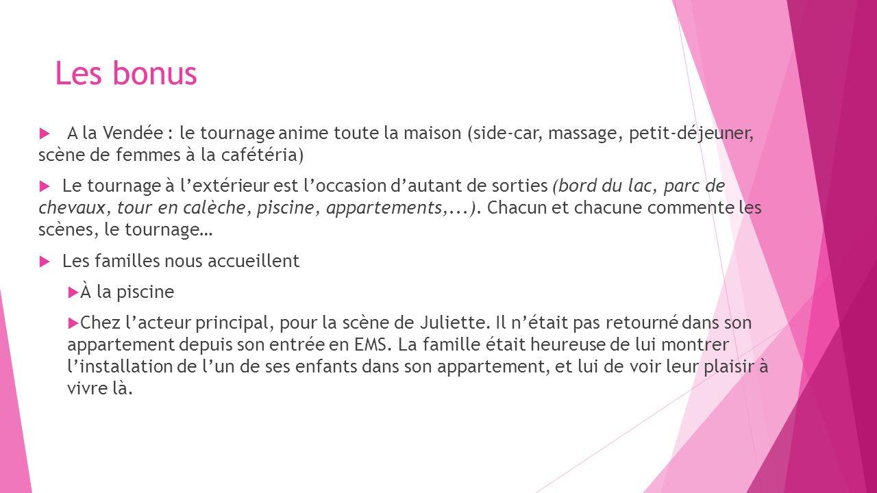 Les bonus A la Vendée : le tournage anime toute la maison (side-car, massage, petit-déjeuner, scène de femmes à la cafétéria) Le tournage à lextérieur