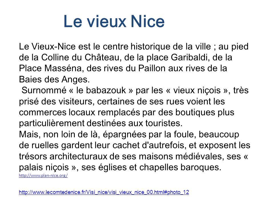 Le Vieux-Nice est le centre historique de la ville ; au pied de la Colline du Château, de la place Garibaldi, de la Place Masséna, des rives du Paillo