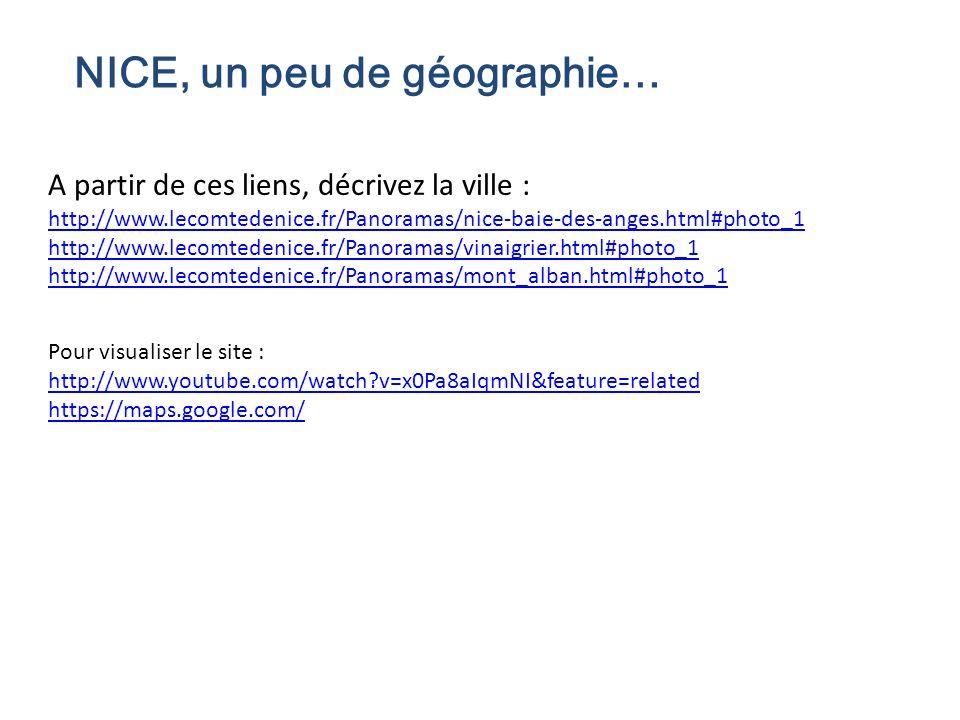 NICE, un peu de géographie… A partir de ces liens, décrivez la ville : http://www.lecomtedenice.fr/Panoramas/nice-baie-des-anges.html#photo_1 http://w