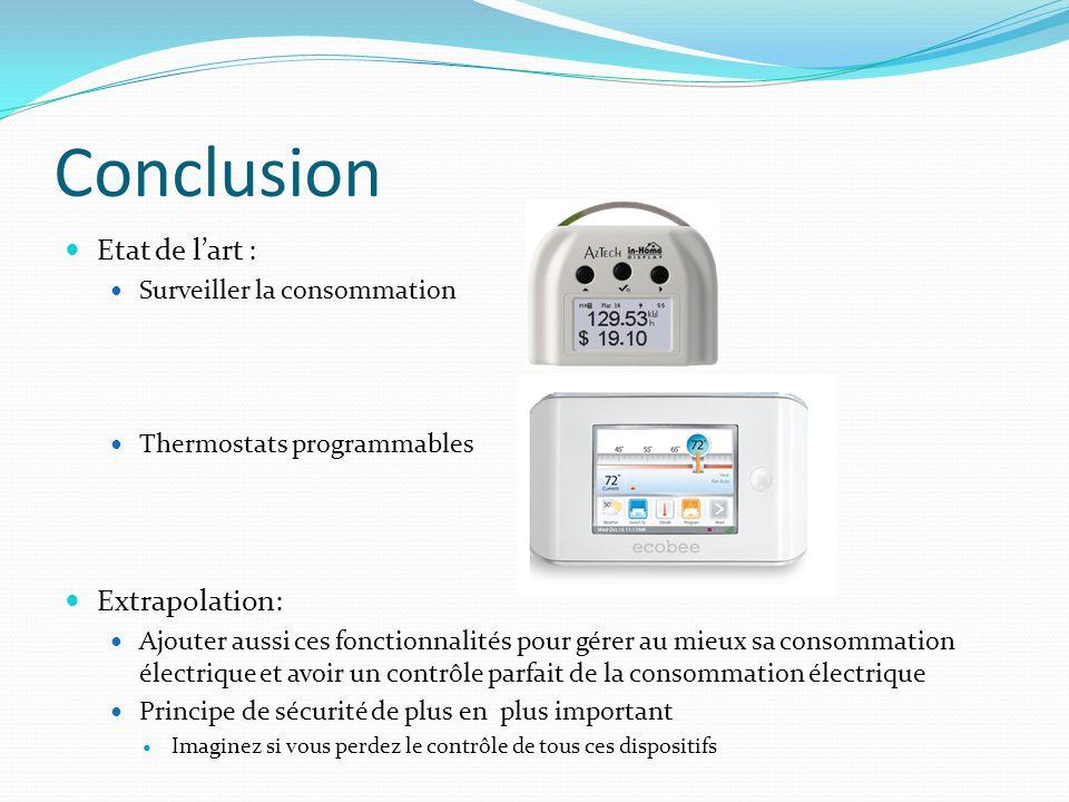 Conclusion Etat de lart : Surveiller la consommation Thermostats programmables Extrapolation: Ajouter aussi ces fonctionnalités pour gérer au mieux sa