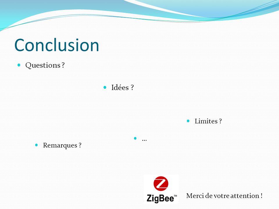 Conclusion Questions ? Idées ? Remarques ? Limites ? … Merci de votre attention !
