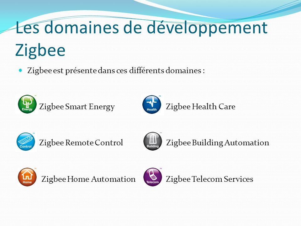 Les domaines de développement Zigbee Zigbee est présente dans ces différents domaines : Zigbee Smart Energy Zigbee Health Care Zigbee Remote Control Z
