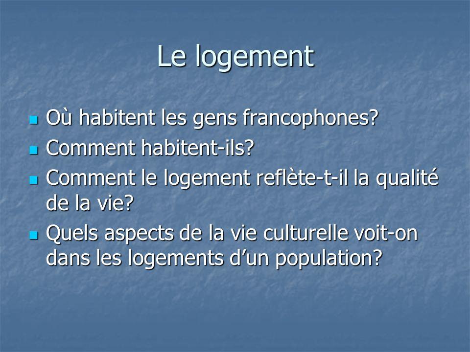 Le logement Où habitent les gens francophones? Où habitent les gens francophones? Comment habitent-ils? Comment habitent-ils? Comment le logement refl