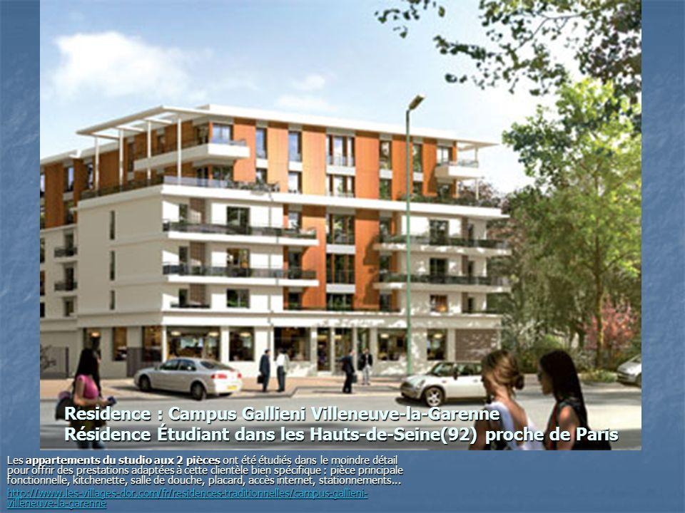 Residence : Campus Gallieni Villeneuve-la-Garenne Résidence Étudiant dans les Hauts-de-Seine(92) proche de Paris Les appartements du studio aux 2 pièc