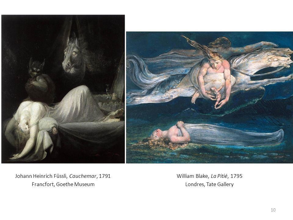 Johann Heinrich Füssli, Cauchemar, 1791 Francfort, Goethe Museum 10 William Blake, La Pitié, 1795 Londres, Tate Gallery