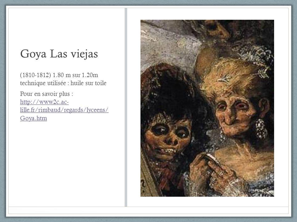Goya Las viejas (1810-1812) 1.80 m sur 1.20m technique utilisée : huile sur toile Pour en savoir plus : http://www2c.ac- lille.fr/rimbaud/regards/lyce
