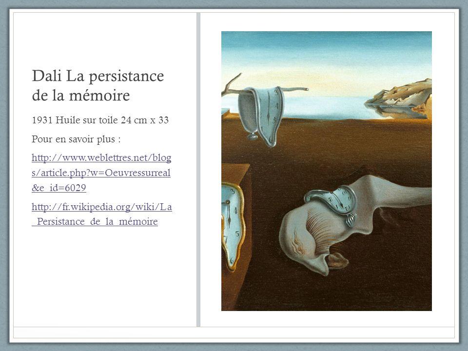 Dali La persistance de la mémoire 1931 Huile sur toile 24 cm x 33 Pour en savoir plus : http://www.weblettres.net/blog s/article.php?w=Oeuvressurreal
