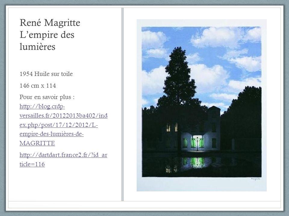 René Magritte Lempire des lumières 1954 Huile sur toile 146 cm x 114 Pour en savoir plus : http://blog.crdp- versailles.fr/20122013ba402/ind ex.php/po