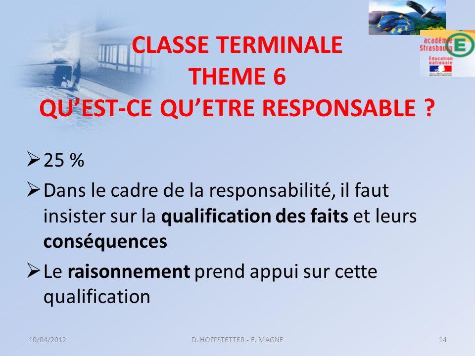 CLASSE TERMINALE THEME 6 QUEST-CE QUETRE RESPONSABLE ? 25 % Dans le cadre de la responsabilité, il faut insister sur la qualification des faits et leu
