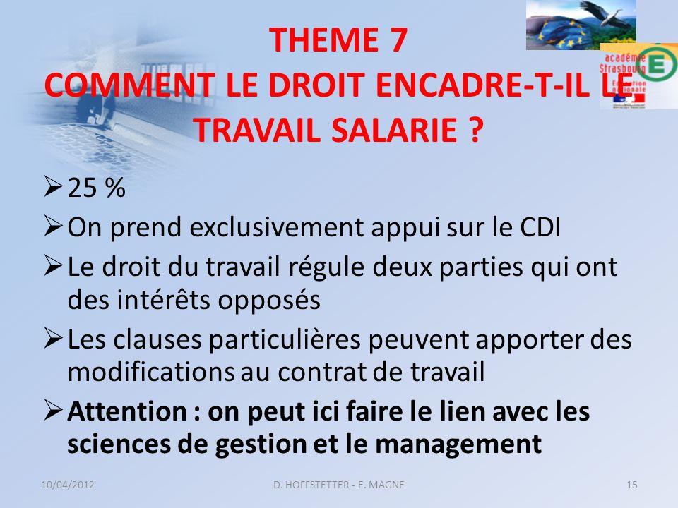 THEME 7 COMMENT LE DROIT ENCADRE-T-IL LE TRAVAIL SALARIE ? 25 % On prend exclusivement appui sur le CDI Le droit du travail régule deux parties qui on