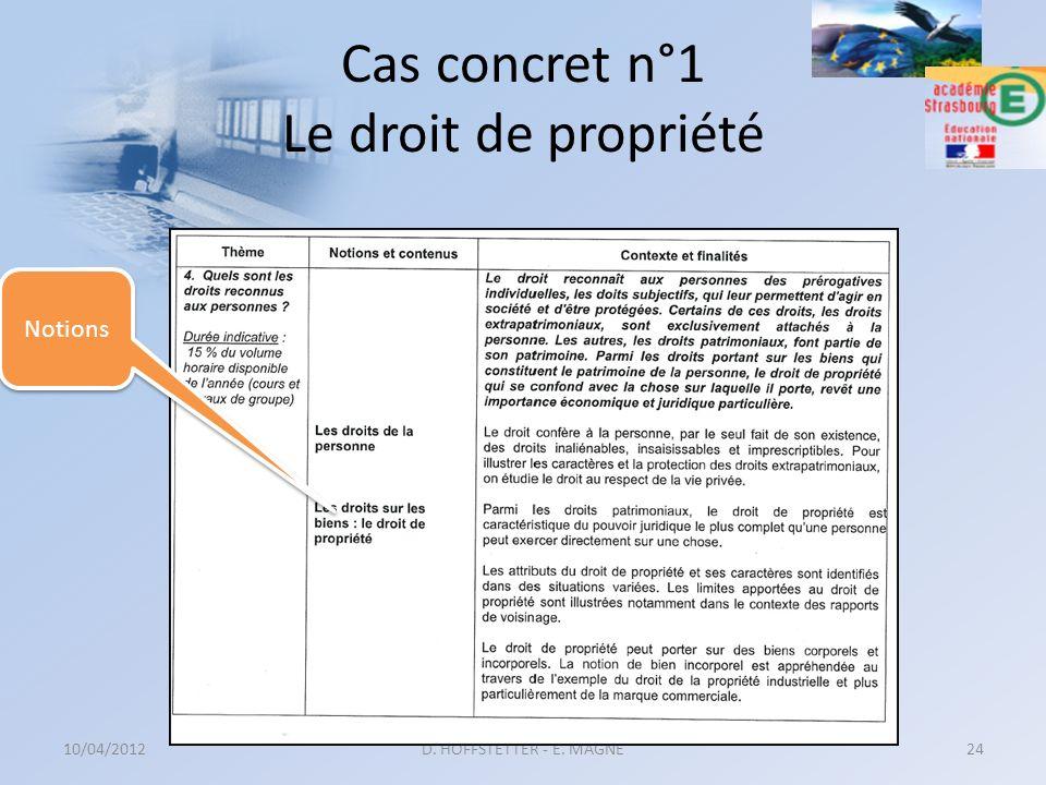 Cas concret n°1 Le droit de propriété 10/04/2012D. HOFFSTETTER - E. MAGNE24 Notions
