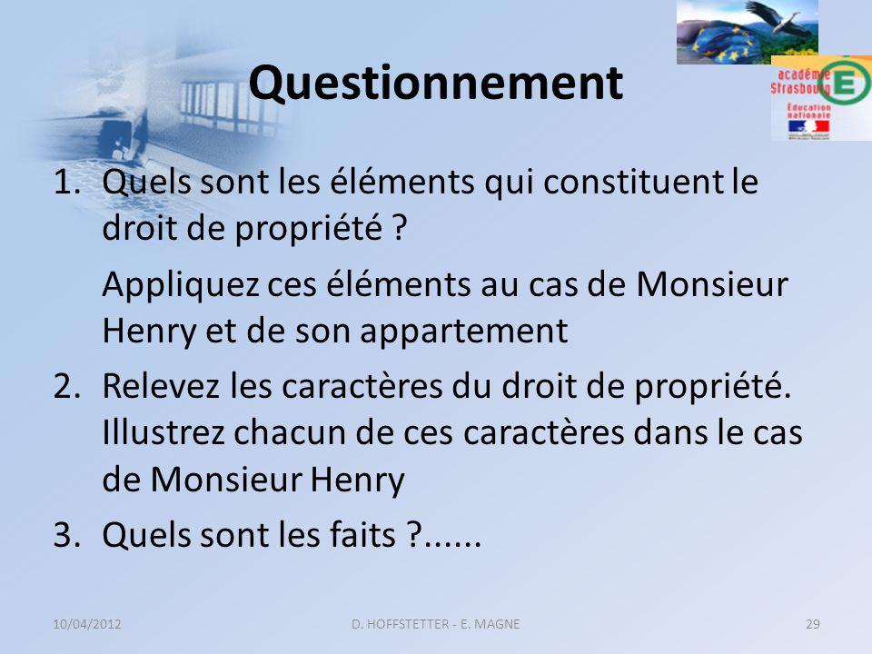 Questionnement 1.Quels sont les éléments qui constituent le droit de propriété ? Appliquez ces éléments au cas de Monsieur Henry et de son appartement