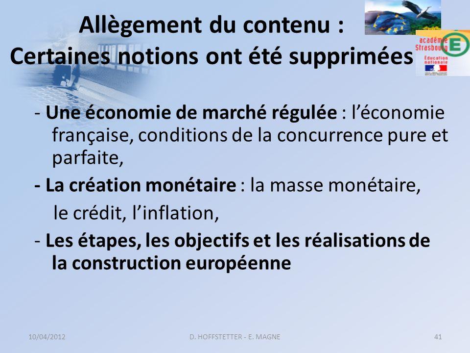 Allègement du contenu : Certaines notions ont été supprimées - Une économie de marché régulée : léconomie française, conditions de la concurrence pure