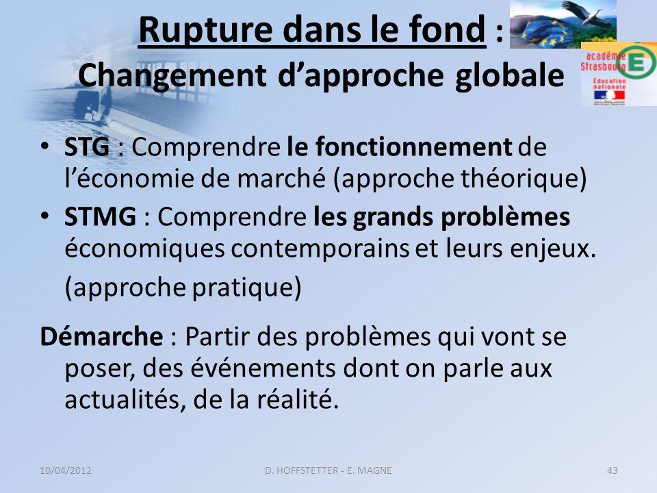 Rupture dans le fond : Changement dapproche globale STG : Comprendre le fonctionnement de léconomie de marché (approche théorique) STMG : Comprendre l