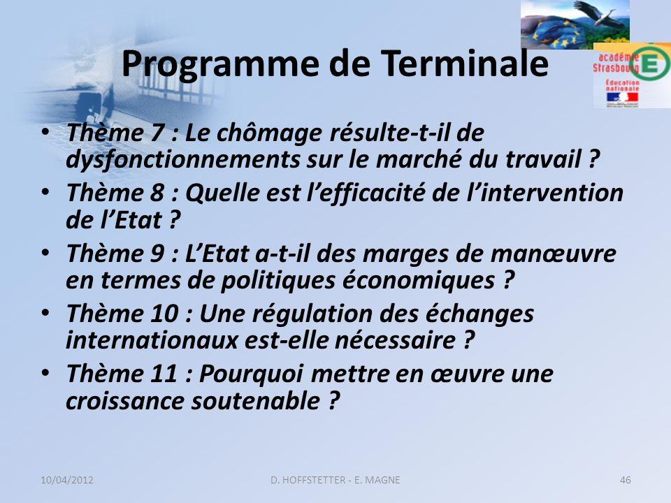 Programme de Terminale Thème 7 : Le chômage résulte-t-il de dysfonctionnements sur le marché du travail ? Thème 8 : Quelle est lefficacité de linterve