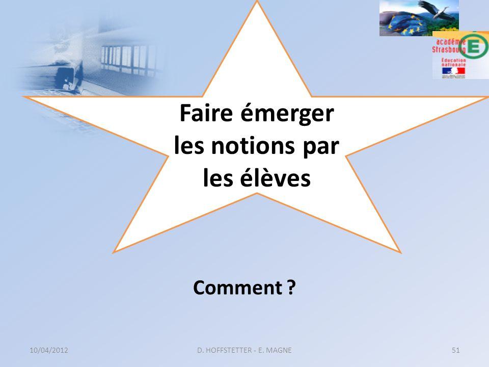 10/04/2012D. HOFFSTETTER - E. MAGNE51 Faire émerger les notions par les élèves Comment ?