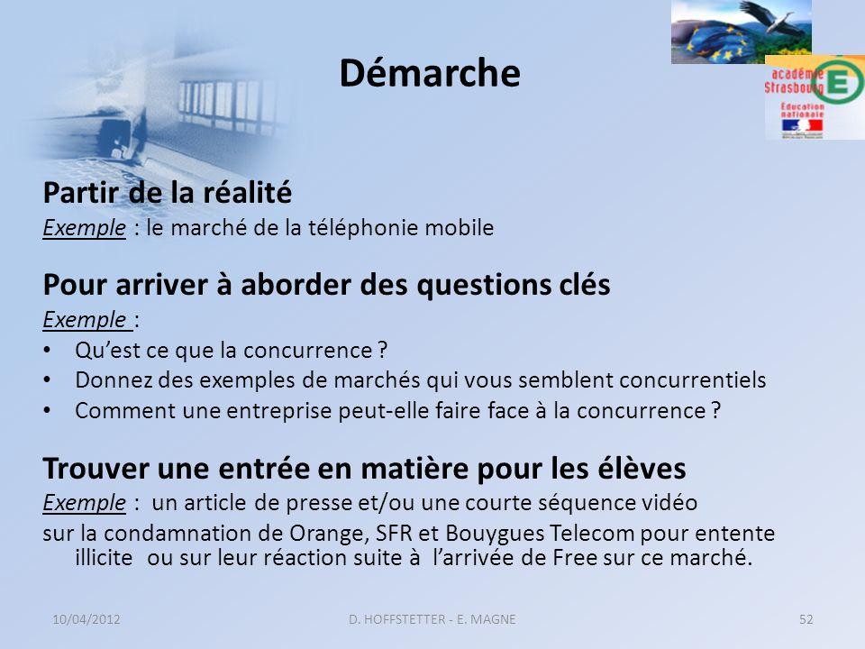 10/04/2012D. HOFFSTETTER - E. MAGNE52 Partir de la réalité Exemple : le marché de la téléphonie mobile Pour arriver à aborder des questions clés Exemp