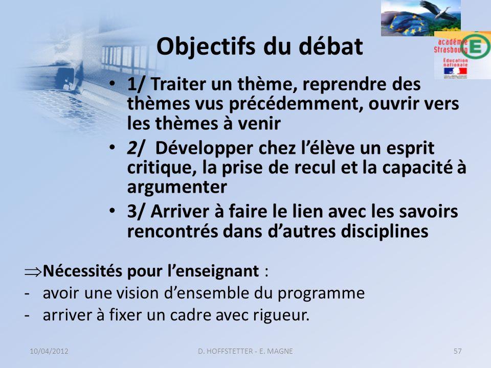 Objectifs du débat 1/ Traiter un thème, reprendre des thèmes vus précédemment, ouvrir vers les thèmes à venir 2/ Développer chez lélève un esprit crit