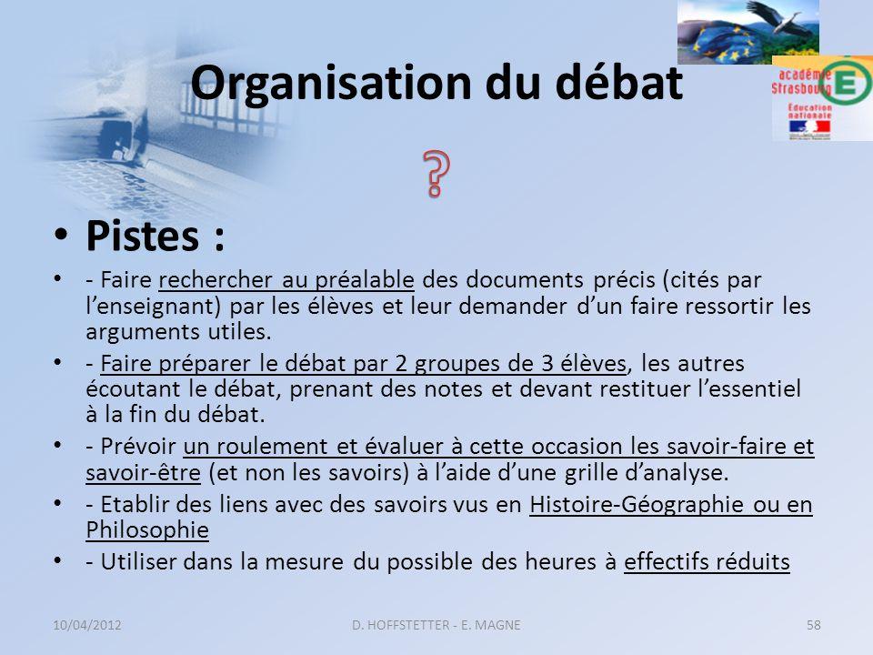 Organisation du débat Pistes : - Faire rechercher au préalable des documents précis (cités par lenseignant) par les élèves et leur demander dun faire