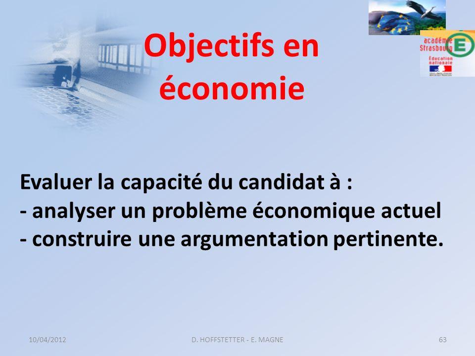 Evaluer la capacité du candidat à : - analyser un problème économique actuel - construire une argumentation pertinente. 10/04/2012D. HOFFSTETTER - E.