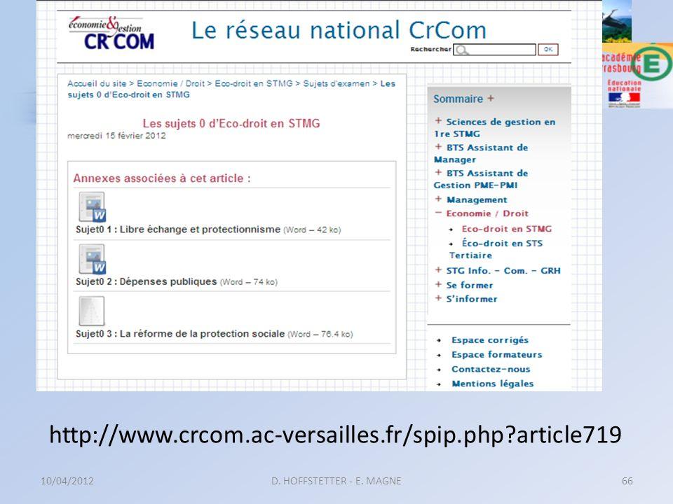http://www.crcom.ac-versailles.fr/spip.php?article719 10/04/2012D. HOFFSTETTER - E. MAGNE66