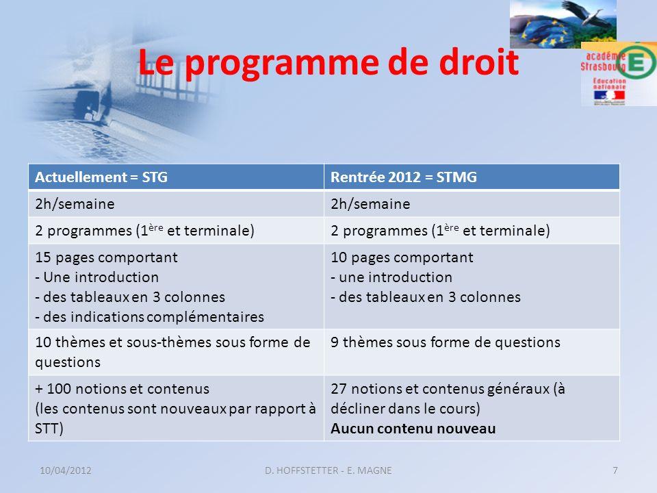 Le programme de droit Actuellement = STGRentrée 2012 = STMG 2h/semaine 2 programmes (1 ère et terminale) 15 pages comportant - Une introduction - des