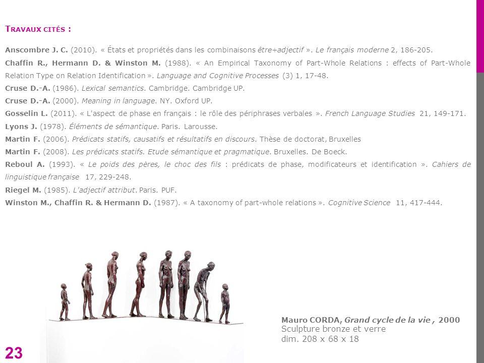 23 Mauro CORDA, Grand cycle de la vie, 2000 Sculpture bronze et verre dim. 208 x 68 x 18 T RAVAUX CITÉS : Anscombre J. C. (2010). « États et propriété