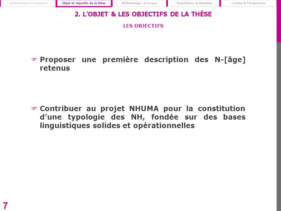 Proposer une première description des N-[âge] retenus Contribuer au projet NHUMA pour la constitution dune typologie des NH, fondée sur des bases ling