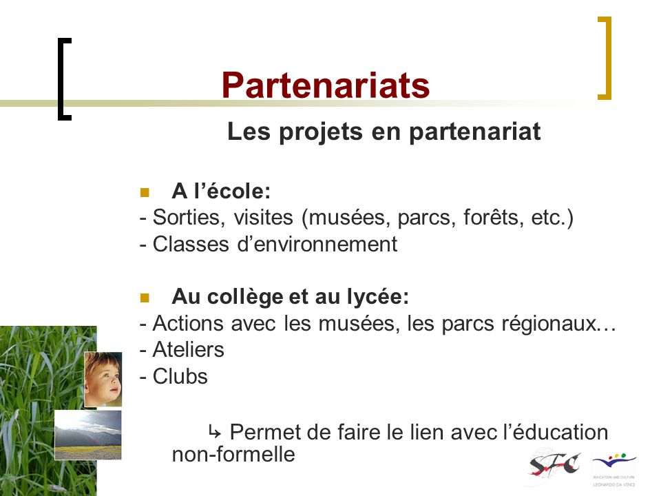 Partenariats Les projets en partenariat A lécole: - Sorties, visites (musées, parcs, forêts, etc.) - Classes denvironnement Au collège et au lycée: -