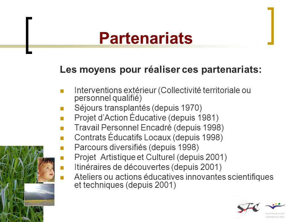 Partenariats Les moyens pour réaliser ces partenariats: Interventions extérieur (Collectivité territoriale ou personnel qualifié) Séjours transplantés