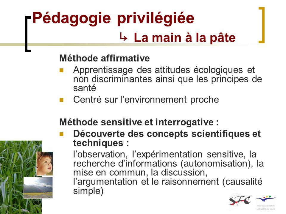 Pédagogie privilégiée La main à la pâte Méthode affirmative Apprentissage des attitudes écologiques et non discriminantes ainsi que les principes de s