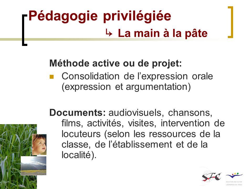 Pédagogie privilégiée La main à la pâte Méthode active ou de projet: Consolidation de lexpression orale (expression et argumentation) Documents: audio