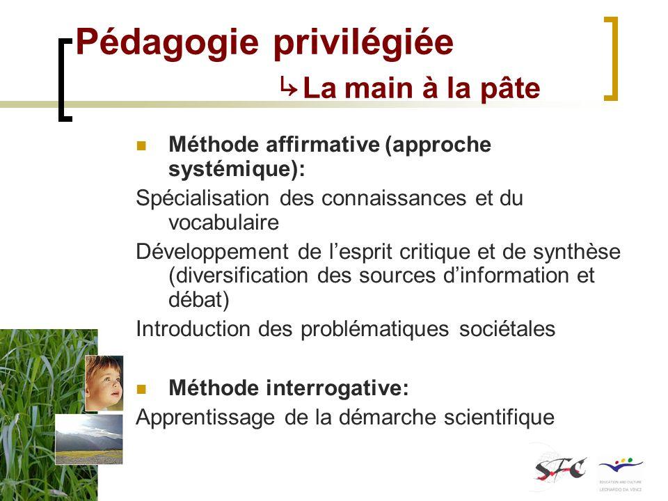 Pédagogie privilégiée La main à la pâte Méthode affirmative (approche systémique): Spécialisation des connaissances et du vocabulaire Développement de