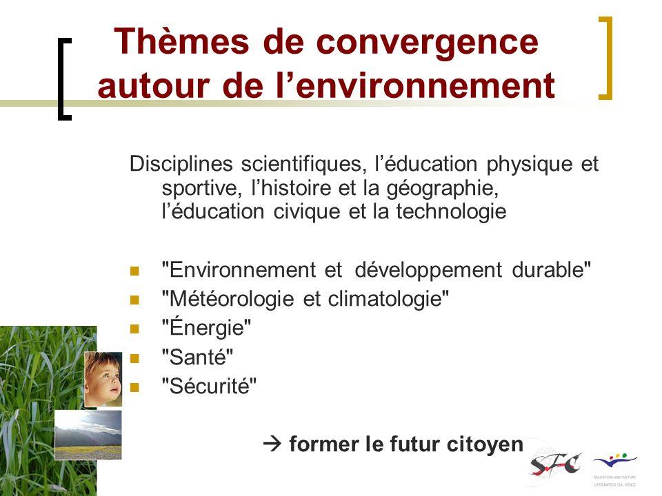 Thèmes de convergence autour de lenvironnement Disciplines scientifiques, léducation physique et sportive, lhistoire et la géographie, léducation civi