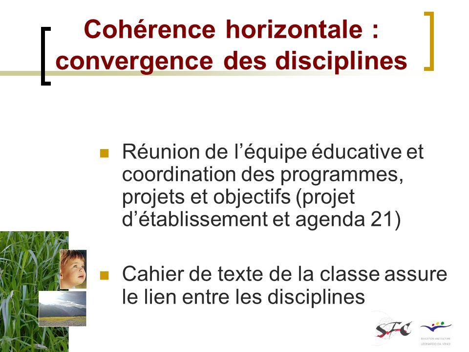 Cohérence horizontale : convergence des disciplines Réunion de léquipe éducative et coordination des programmes, projets et objectifs (projet détablis