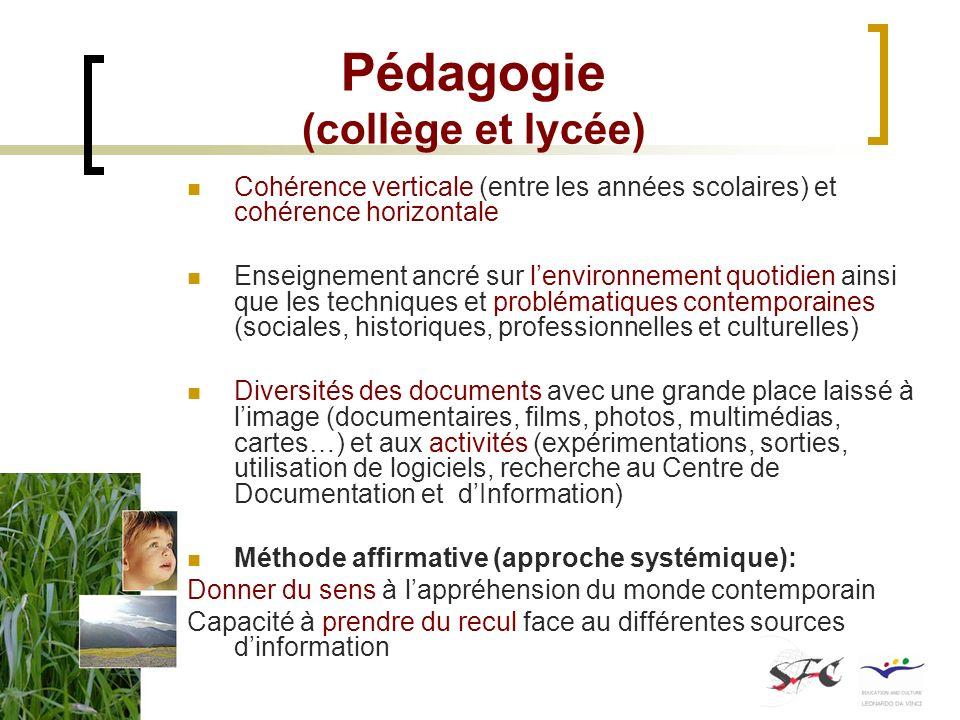 Pédagogie (collège et lycée) Cohérence verticale (entre les années scolaires) et cohérence horizontale Enseignement ancré sur lenvironnement quotidien
