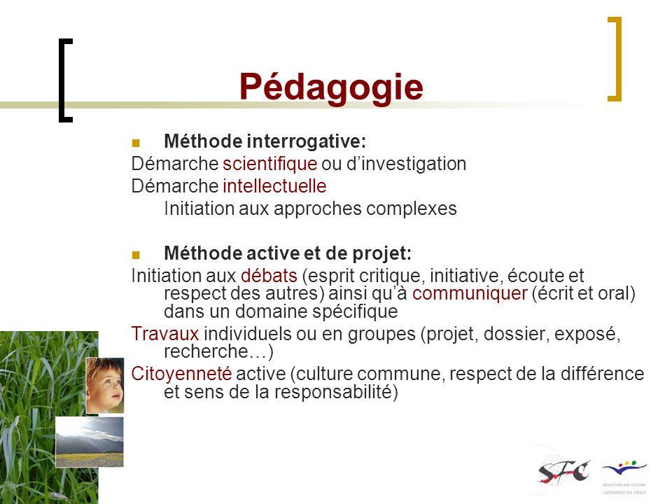 Pédagogie Méthode interrogative: Démarche scientifique ou dinvestigation Démarche intellectuelle Initiation aux approches complexes Méthode active et