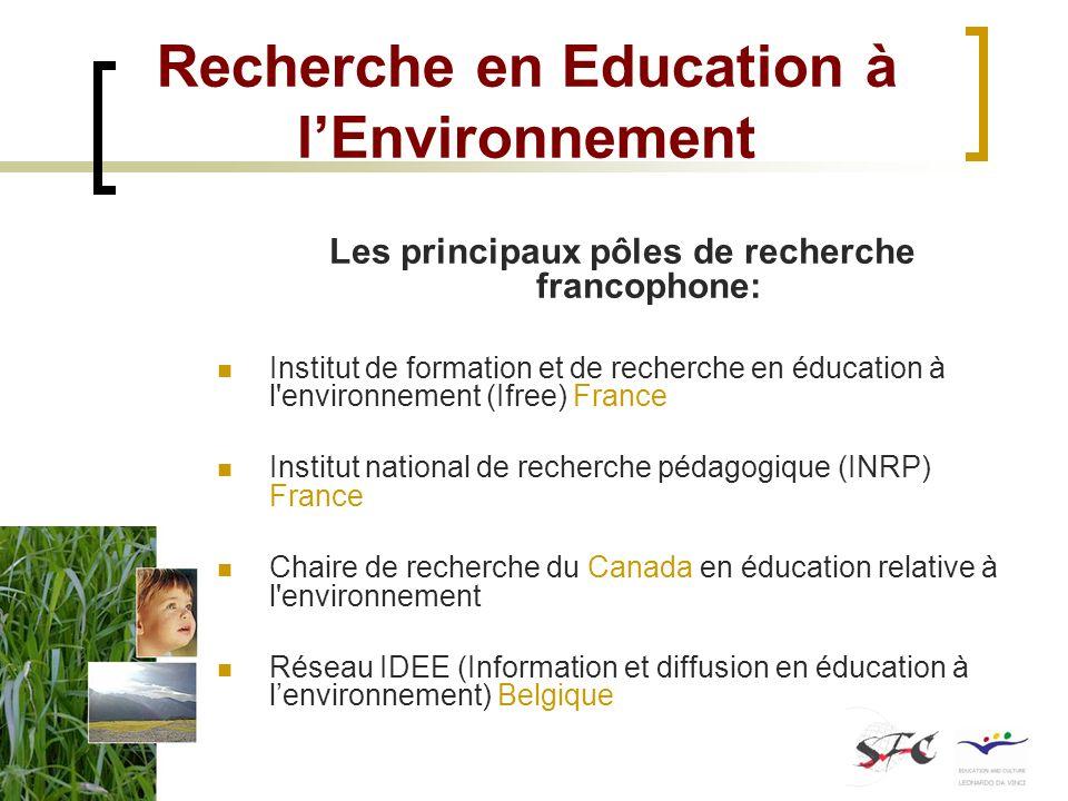 Recherche en Education à lEnvironnement Les principaux pôles de recherche francophone: Institut de formation et de recherche en éducation à l'environn