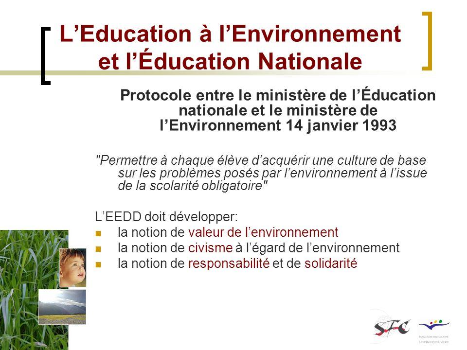 LEducation à lEnvironnement et lÉducation Nationale Protocole entre le ministère de lÉducation nationale et le ministère de lEnvironnement 14 janvier