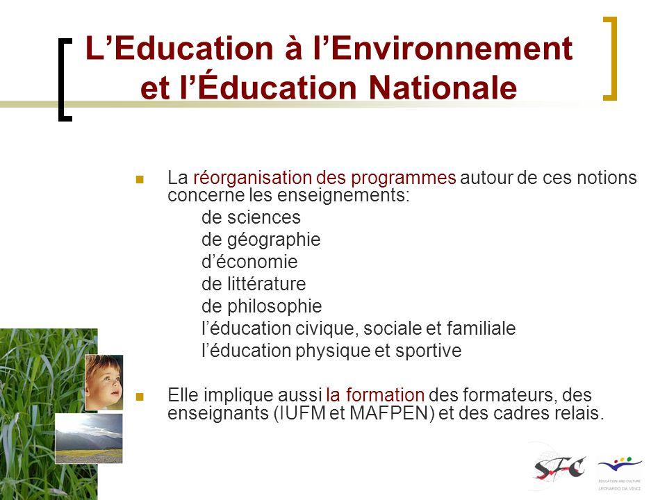 LEducation à lEnvironnement et lÉducation Nationale La réorganisation des programmes autour de ces notions concerne les enseignements: de sciences de