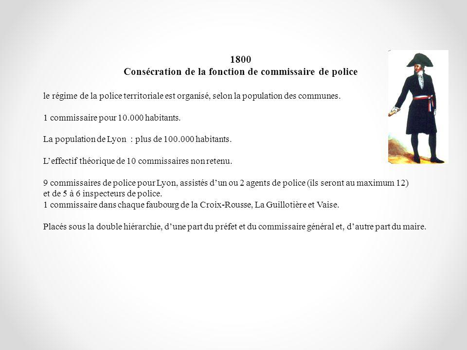 1800 Consécration de la fonction de commissaire de police le régime de la police territoriale est organisé, selon la population des communes. 1 commis