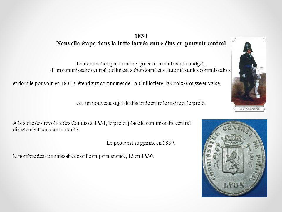 1830 Nouvelle étape dans la lutte larvée entre élus et pouvoir central La nomination par le maire, grâce à sa maitrise du budget, dun commissaire cent