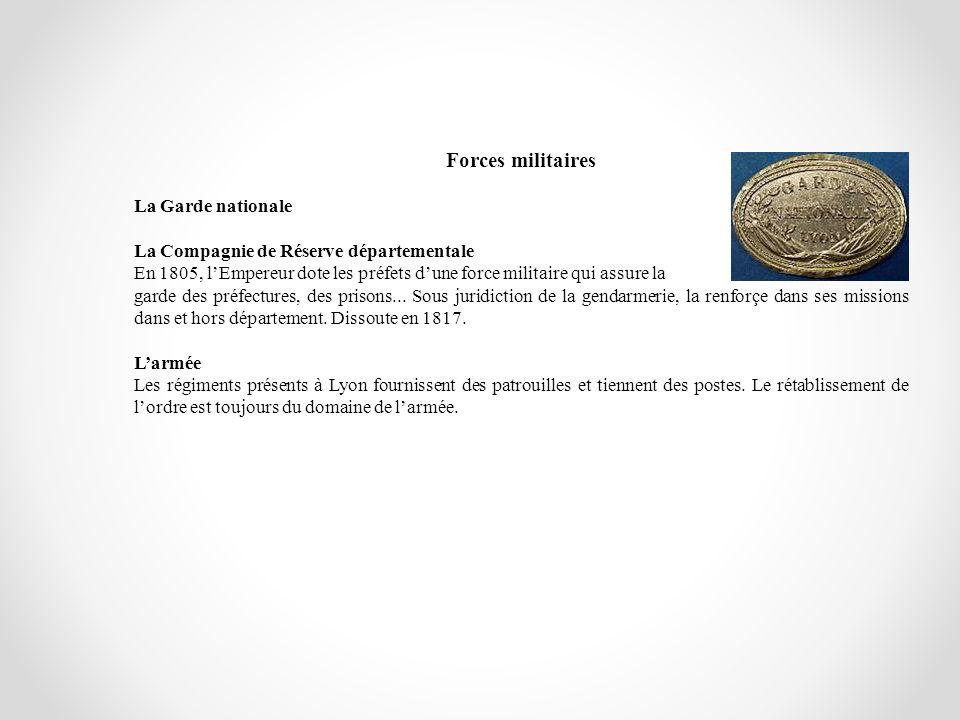 Forces militaires La Garde nationale La Compagnie de Réserve départementale En 1805, lEmpereur dote les préfets dune force militaire qui assure la gar