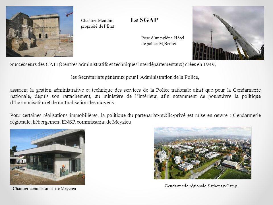 Le SGAP Chantier Montluc propriété de lEtat Pose dun pylône Hôtel de police M,Berliet Chantier commissariat de Meyzieu Gendarmerie régionale Sathonay-